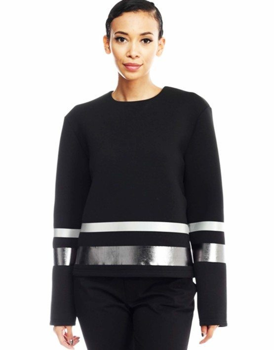 Black Metalic Stripe Scuba Sweater. By Black Collection. 100% Polyester.