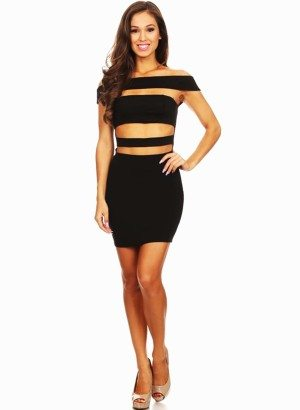 Black Off Shoulder Knit Body Con Dress