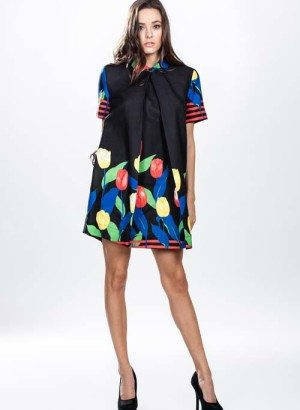 Black Pleated Flower Print Shirt Dress