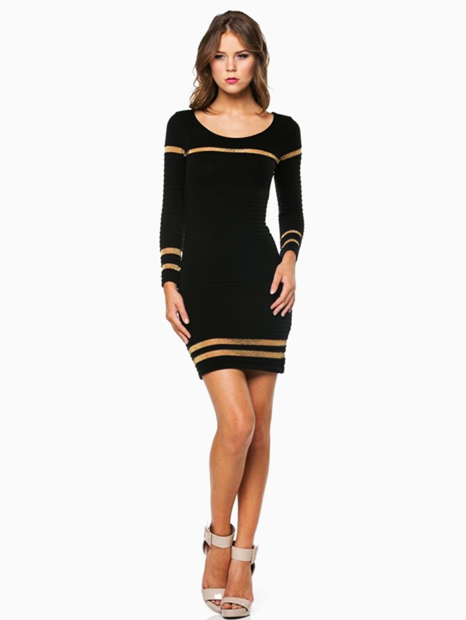 Hera Collection Black Ribbed Shimmer Striped Short Sweater Dress ...