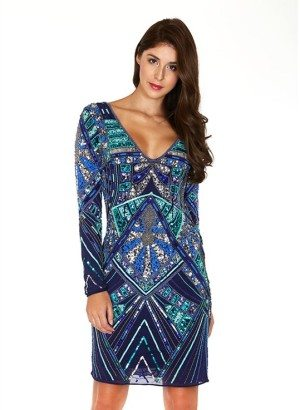 Blue Fully Embellished Long Sleeve Dress