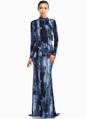 Denim Printed Knit Mermaid Style Maxi Dress