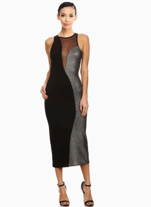 Black Metallic Solid Knit Contrast Sheath Dress