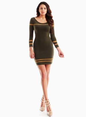 Olive Ribbed Shimmer Striped Short Sweater Dress