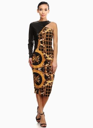 One Shoulder Damask Print Sheath Dress