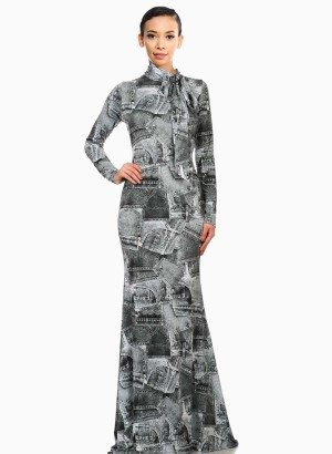 Patchwork Denim Print Mermaid Maxi Dress