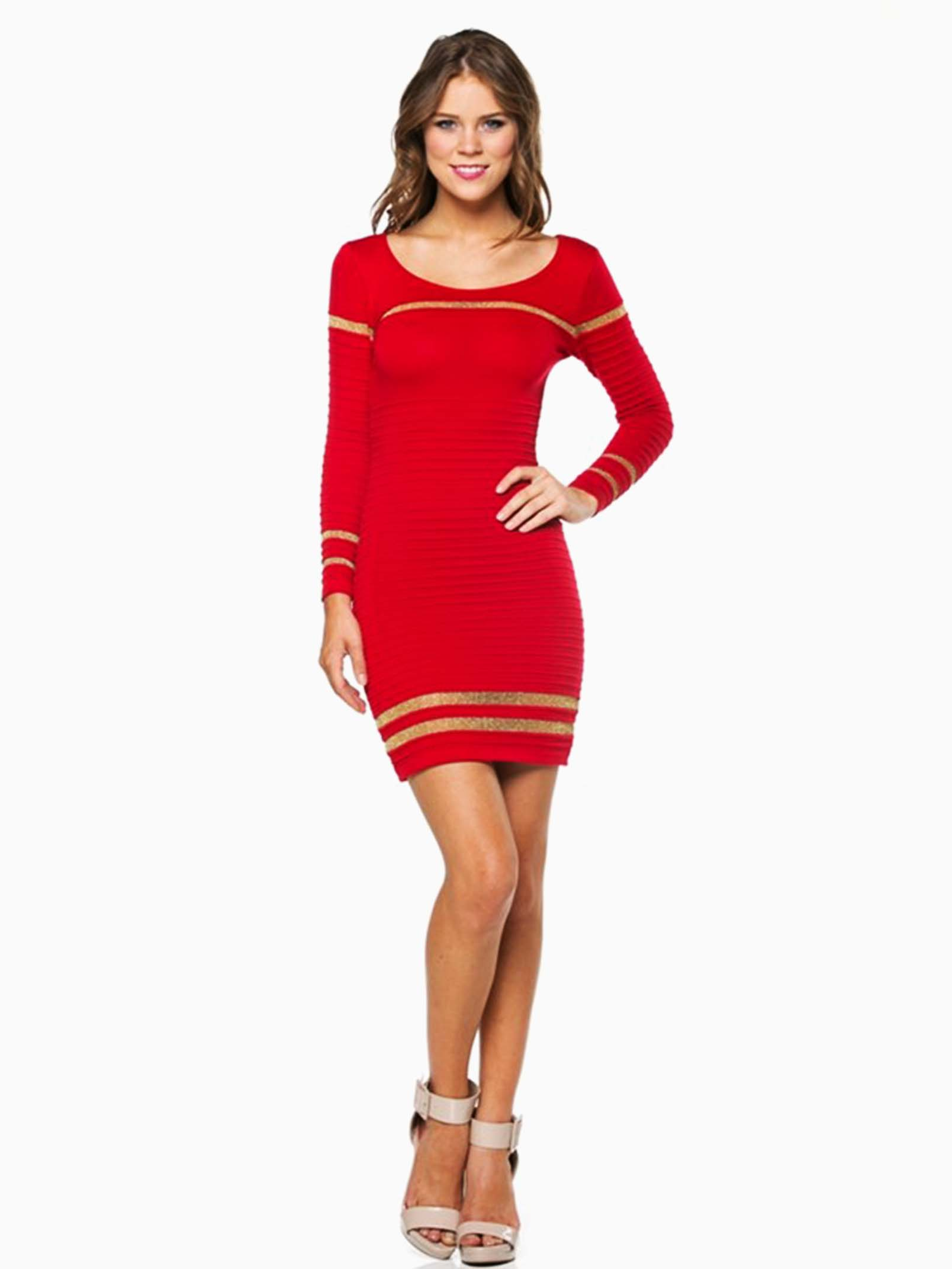 Hera collection red ribbed shimmer striped short sweater dress