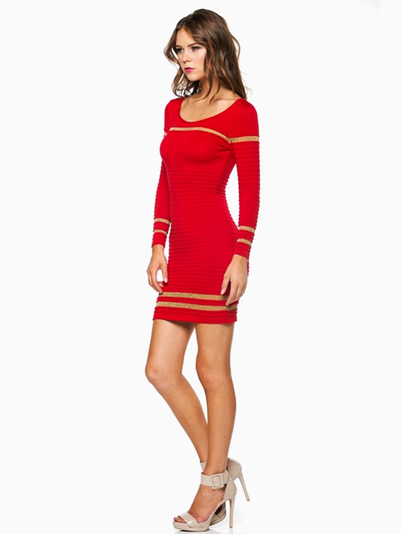 Hera Collection Red Ribbed Shimmer Striped Short Sweater Dress ...