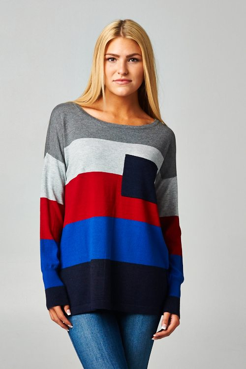 Striped Colorblock Knit Loose Fit Sweater