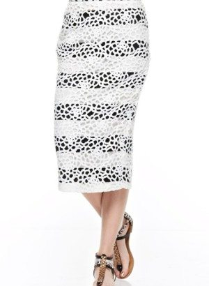 White Black Lace Laser Cut Out Skirt