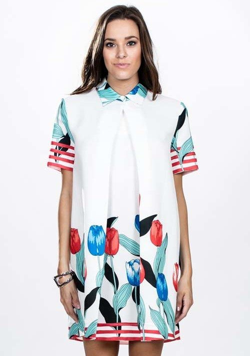 Off White Pleated Flower Print Shirt Dress