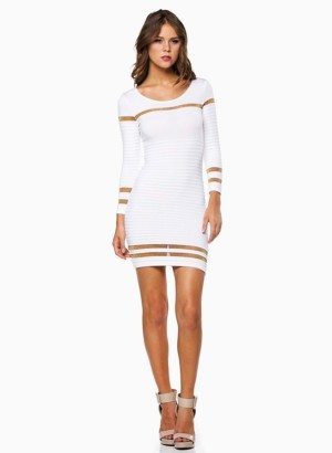 Hera Collection Olive Ribbed Shimmer Striped Short Sweater Dress ...
