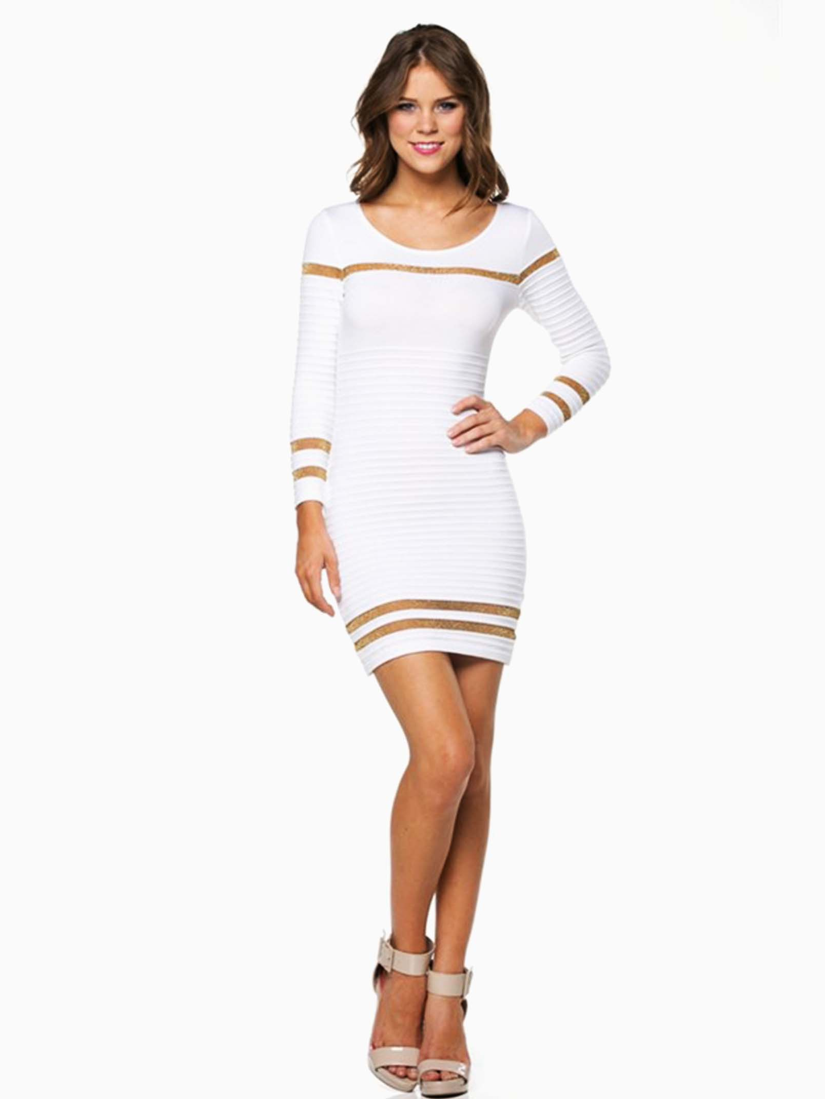 Hera Collection White Ribbed Shimmer Striped Short Sweater Dress ...