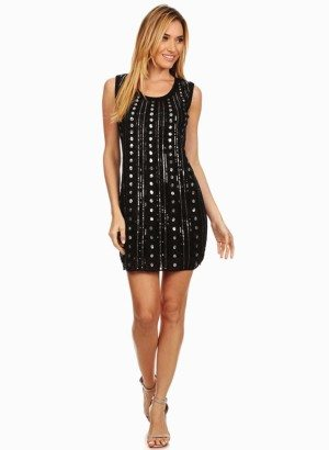 Black Sequined Shift Dress