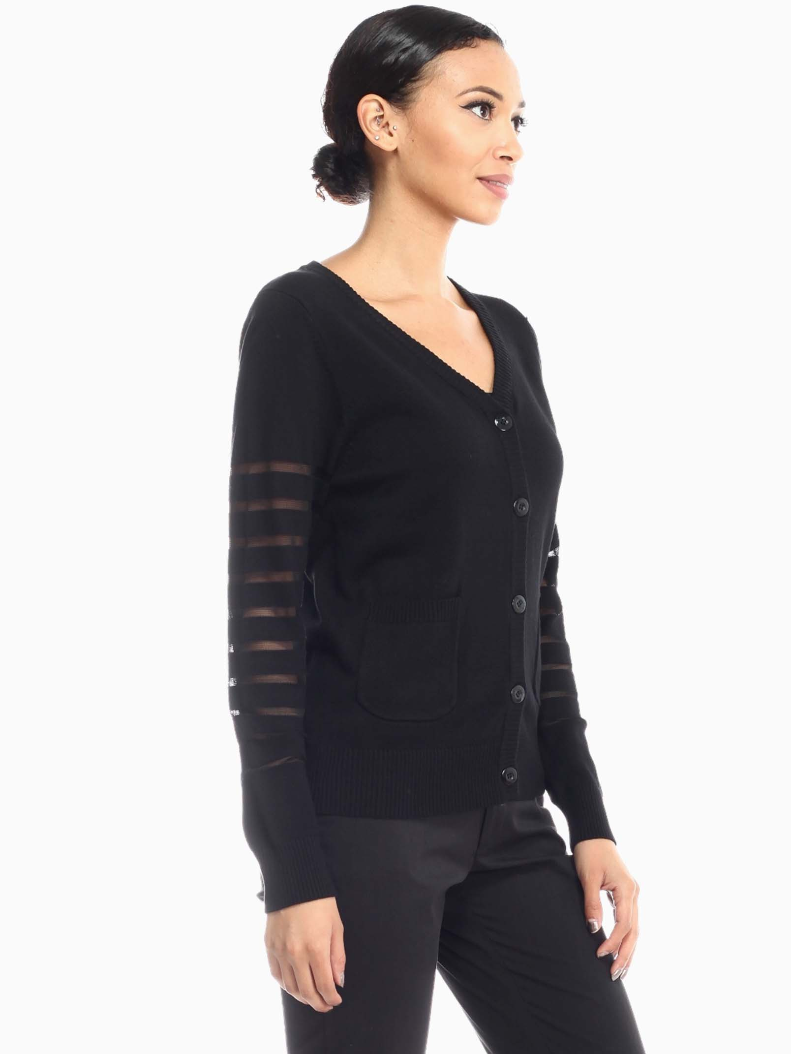 Black Sheer Mesh Point Cardigan