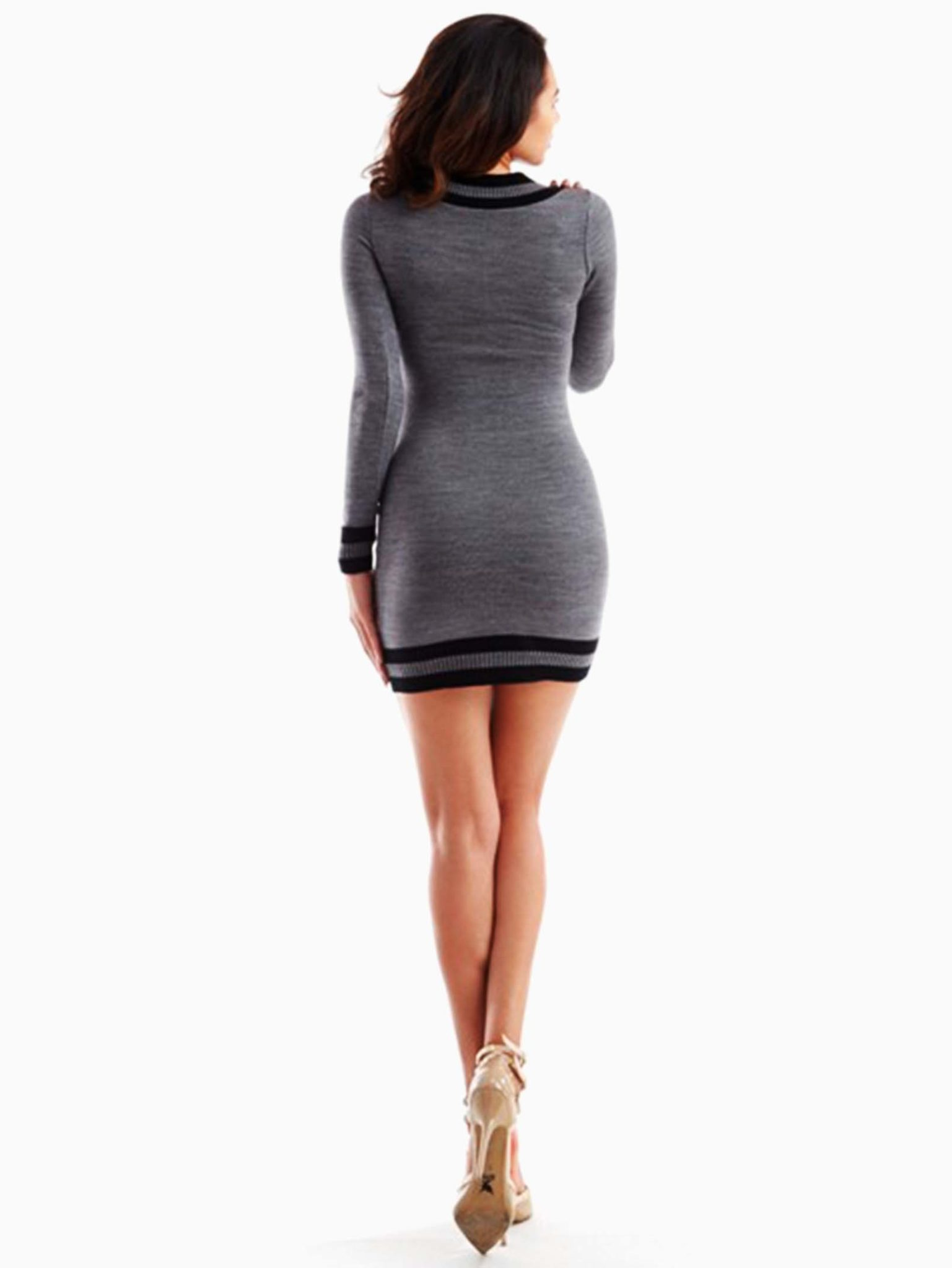 Grey V Neckline Sweater Dress