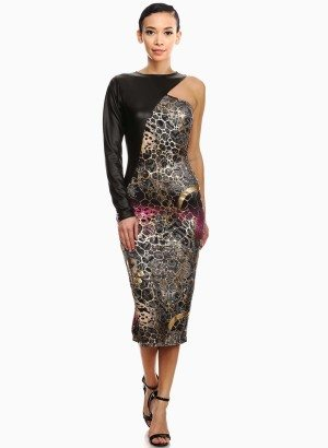 One Shoulder Mixed Metallic Print Sheath Dress