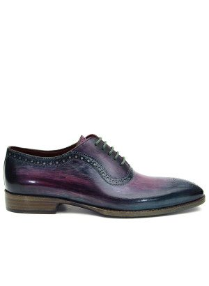 Paul Parkman Purple Navy Medallion Toe Oxfords