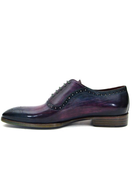 Paul Parkman Purple Navy Handmade Medallion Toe Oxfords