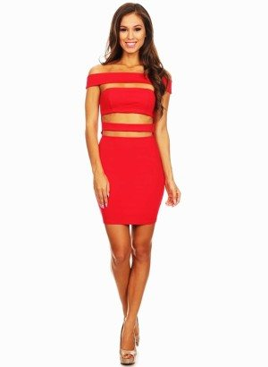 Crimson Off Shoulder Knit Body Con Dress