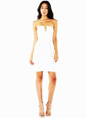 White Square Sweet Heart Bandage Lace Up Dress
