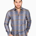 Blue Tan Checked Jacquard Shirt