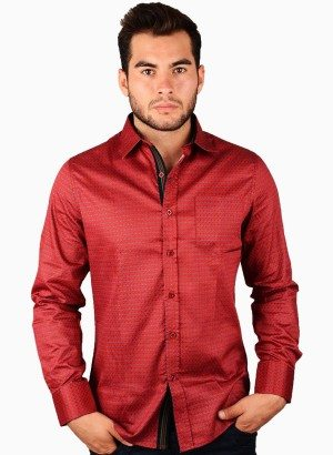 Burgundy Pattern Print Button Front Shirt