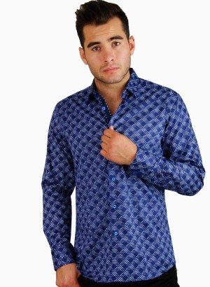 CESARI Blue Pattern Print Button Front Shirt