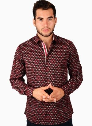 CESARI Burgundy Flocked Pattern Button Front Shirt