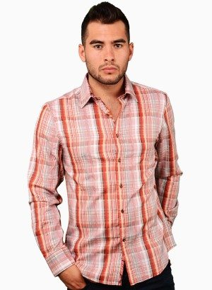 CESARI Coral Checker Button-Up Shirt