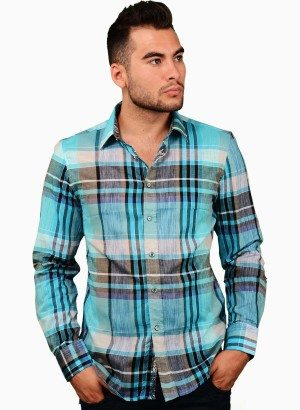 CESARI Yarn Dyed Checker Button-Up Shirt
