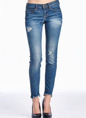 Dark Denim Frayed Boyfriend Jeans