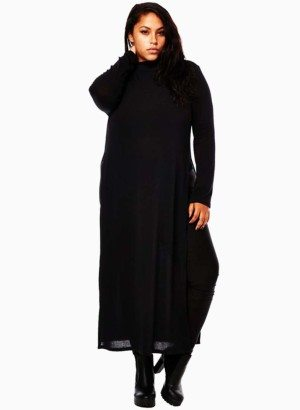 Black Mock Neck Long Sleeve Plus Size Top