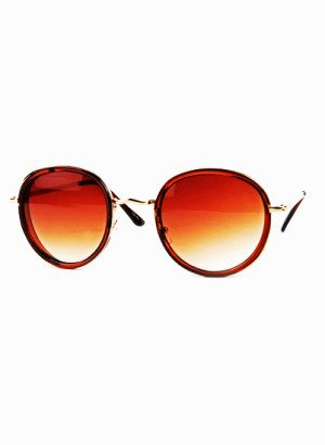 Gradient Brown Lens Circular Vintage Sunglasses