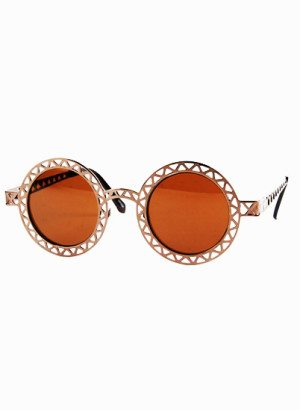 Brown Lens Vintage Funky Metal Sunglasses