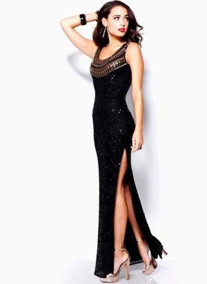 Black Embellished Evening Gown