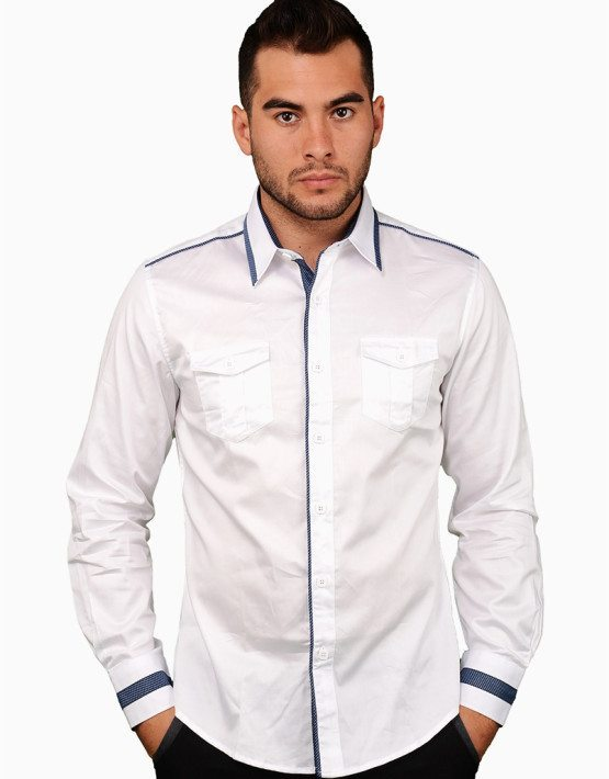 Solid White Two Pocket Shirt