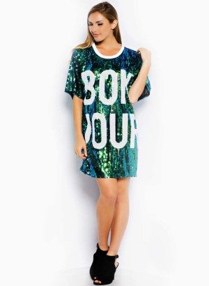 Bonjour Short Sleeve Oversize Shift Dress