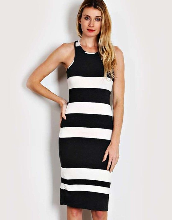 Charcoal Thick Stripe Knit Bodycon Dress
