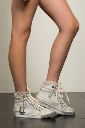 POL Beige Leather Hi-Top Sneakers