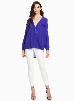 TOV Purple Deep V Wrap Blouse