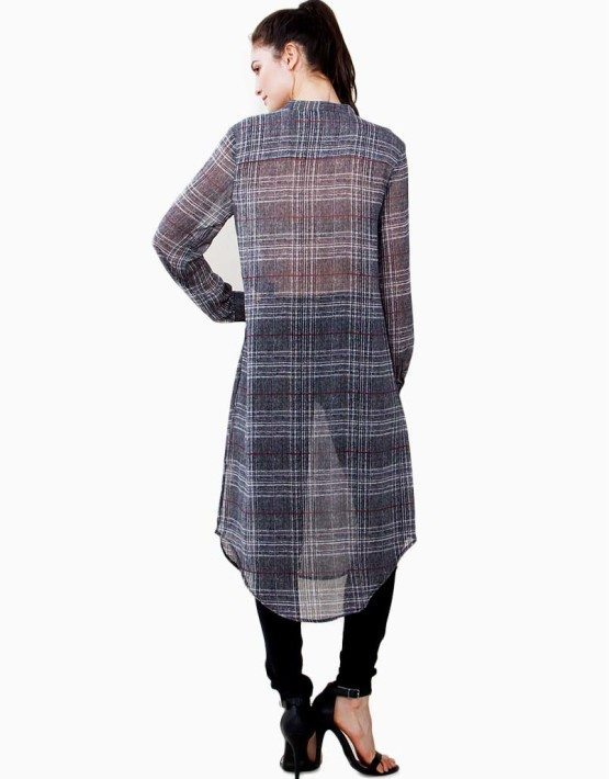 Plaid Sheer Chiffon Button Down Tunic Top