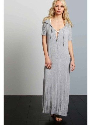 POL Heather Grey Hooded Maxi Dress