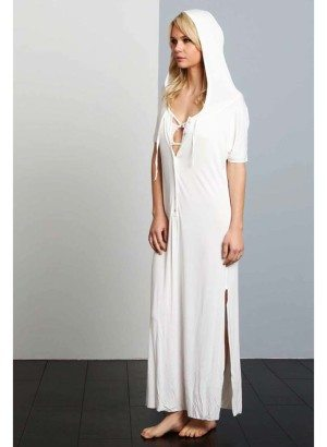POL Ivory Hooded Maxi Dress