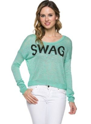 Mint Knit Swag Sweater