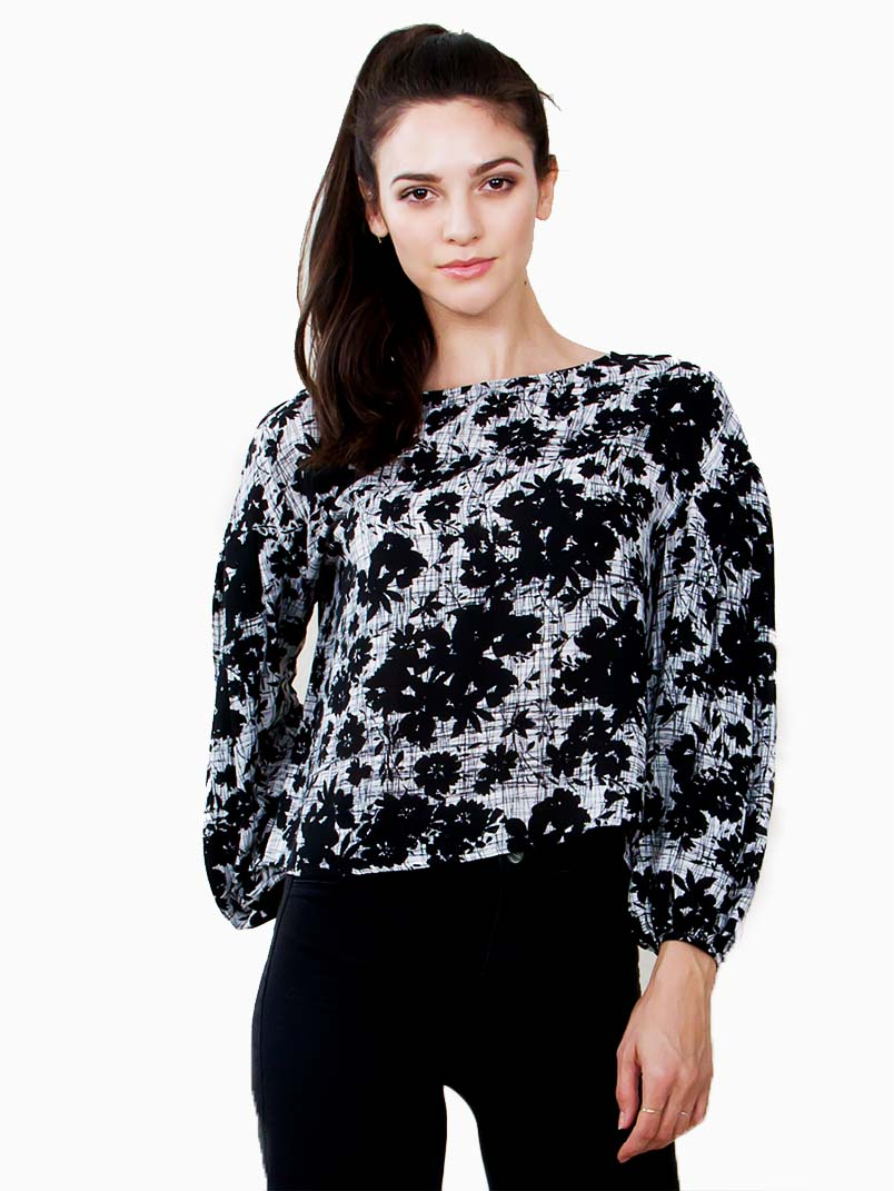 Abstract Floral Long Sleeve Top