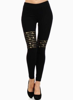The Classic Black High Waisted Zipper Leggings