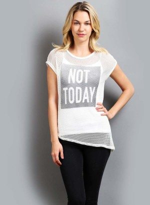 """Not Today"" Fishnet Short Sleeve Top"