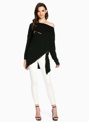 TOV Black Asymmetrical Long Sleeve Top