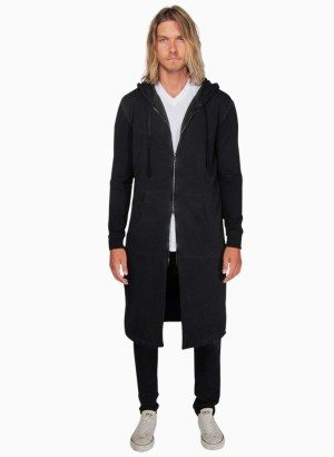 DE LA COMMUNE Long Hoodie in Antique Black